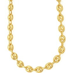 14k Yellow Gold Puffed Mariner Link Chain Necklace, 11mm, 24""