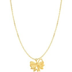"""14k Yellow Gold Bow Pendant Necklace, 18"""""""