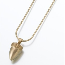 Gold Acorn Cremation Pendant, Jewelry Yellow