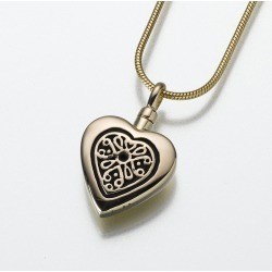 Yellow Lattice Heart Cremation Pendant - 14K Gold, Jewelry