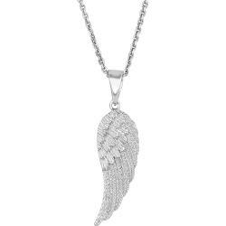 """Sterling Silver Angel Wing Pendant Necklace, 18"""""""