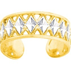 14K White And Yellow Gold Diamond Cut And Millgrain Design Adjustable Toe Ring 6mm