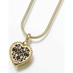 14K Gold Lattice Heart Cremation Pendant, Jewelry Yellow