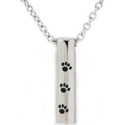 Paw Print Cylinder Cremation Pendant, Jewelry Black