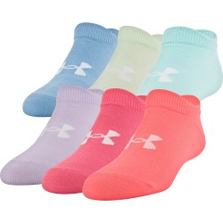 Under Armour Girl's Essential 2.0 No Show Socks - 6 Pack Blitz Red/Assorted One Size