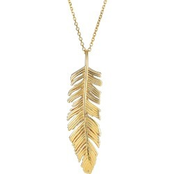 """14k Yellow Gold Feather Pendant Necklace,18"""""""