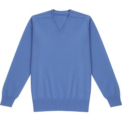 Blue Lambswool V-Neck Sweater found on MODAPINS from The Rake Media Ltd for USD $123.48