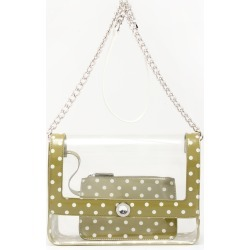 Clear Stadium Shoulder Bag Olive Green & White Chrissy Medium by SCORE! The Official Game Day Bag