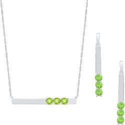 Sterling Silver Peridot Bar Necklace  & Earrings Set