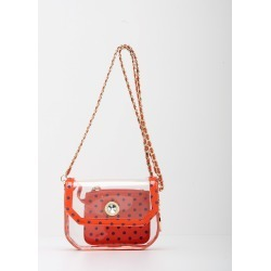 Clear Stadium Shoulder Bag Orange & Navy Blue Chrissy Small by SCORE! The Official Game Day Bag