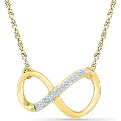 Diamond Accent Infinity Necklace in Gold Flash-Plated Sterling Silver