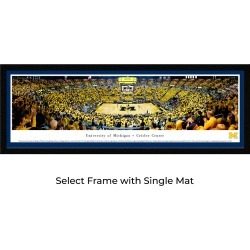 Michigan Wolverines Basketball - Single Mat- Select Framed Panoramic Print