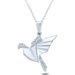 Diamond Accent Origami Flying Bird Pendant Necklace in Sterling Silver