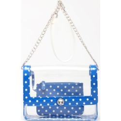 Clear Stadium Shoulder Bag Blue & White Chrissy Medium by SCORE! The Official Game Day Bag