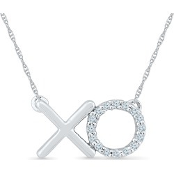 Diamond Accent XO Necklace in Sterling Silver