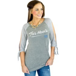 "UNC Tar Heels ""Fourth Down"" Raglan Tie Sleeve Top by Gameday Couture"