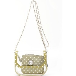 Clear Stadium Shoulder Bag Olive Green & White Chrissy Small by SCORE! The Official Game Day Bag