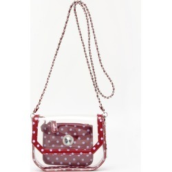 Clear Stadium Shoulder Bag Maroon & Lavender Chrissy Small by SCORE! The Official Game Day Bag