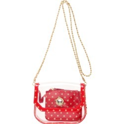 Clear Stadium Shoulder Bag Racing Red & Gold Chrissy Small by SCORE! The Official Game Day Bag