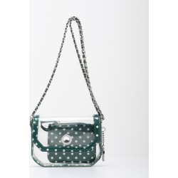 Clear Stadium Shoulder Bag Forest Green & White Chrissy Small by SCORE! The Official Game Day Bag