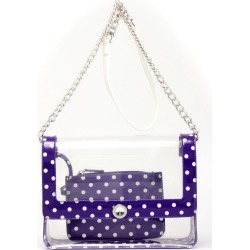 Clear Stadium Shoulder Bag Purple & White Chrissy Medium by SCORE! The Official Game Day Bag