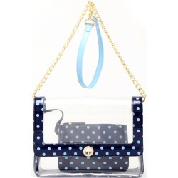 Clear Stadium Shoulder Bag Navy Blue & Light Blue Chrissy Medium by SCORE! The Official Game Day Bag