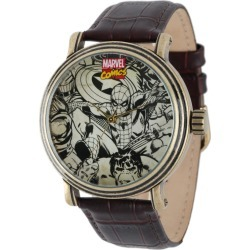 Marvel Vintage Black & White Avengers Antique Gold Tone/Leather Watch