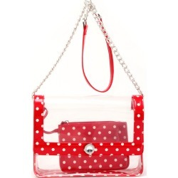 Clear Stadium Shoulder Bag Racing Red & White Chrissy Medium by SCORE! The Official Game Day Bag