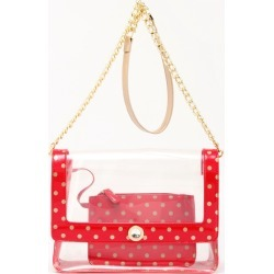 Clear Stadium Shoulder Bag Racing Red & Gold Chrissy Medium by SCORE! The Official Game Day Bag