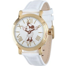 Disney Vintage Minnie Mouse Handy Time Gold Tone/Leather Watch