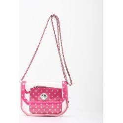 Clear Stadium Shoulder Bag Aurora Pink & Silver Chrissy Small by SCORE! The Official Game Day Bag