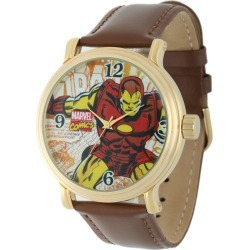 Marvel Vintage Iron Man Gold Tone/Leather Watch