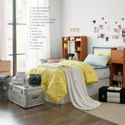 Ultimate College Dorm Supplies Pack-Twin XL-Pin Tuck Limelight Yellow Color Set