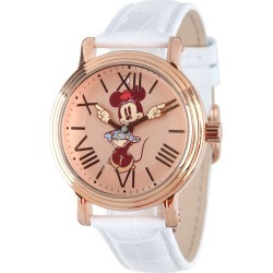 Disney Minnie Mouse Handy Time Rose Gold Tone/Leather Watch