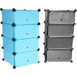 Snap Cubes - College Dorm Storage 4-Tier With Doors - Black