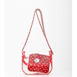Clear Stadium Shoulder Bag Racing Red & White Chrissy Small by SCORE! The Official Game Day Bag
