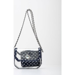 Clear Stadium Shoulder Bag Navy Blue & White Chrissy Small by SCORE! The Official Game Day Bag