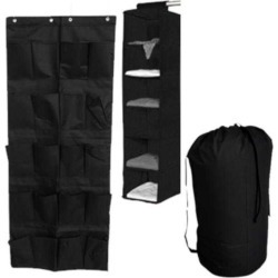 TUSK 3-Piece College Dorm Storage Closet Pack - Black (Over Door Shoe Version)