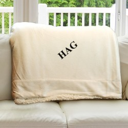 Cream Personalized Monogram Fleece Sherpa Blanket found on Bargain Bro India from balfour for $66.25
