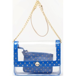 Clear Stadium Shoulder Bag Blue & Gold Chrissy Medium by SCORE! The Official Game Day Bag