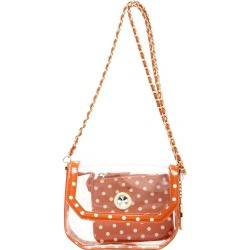 Clear Stadium Shoulder Bag Burnt Sienna & White Chrissy Small by SCORE! The Official Game Day Bag