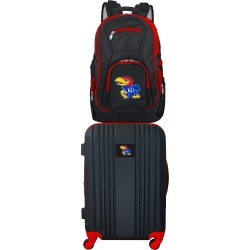 NCAA Kansas Jayhawks 2 Piece Set Luggage and Backpack by Mojo Licensing