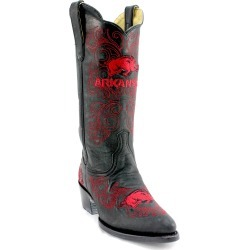 """Women's 13"""" Arkansas Razorback Black Tailgate Cowgirl Boots by Gameday Boots"""