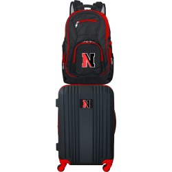 NCAA Northeastern Huskies 2 Piece Set Luggage and Backpack by Mojo Licensing