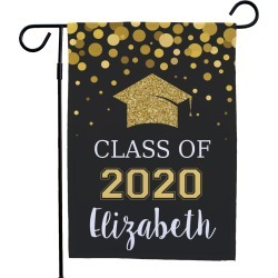 Personalized Class Of Glitter Gold Garden Flag
