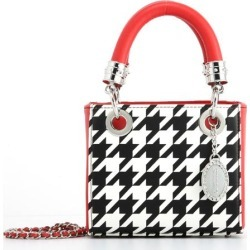 Ladies Houndstooth & Red Small Satchel Top Handle Purse - Jacqui by SCORE! The Official Game Day Bag