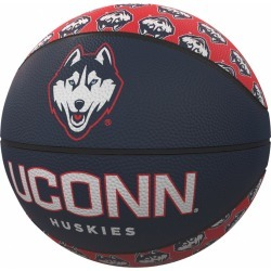 UConn Repeating Logo Mini-Size Rubber Basketball