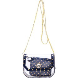 Clear Stadium Shoulder Bag Navy Blue & Yellow Gold Chrissy Small by SCORE! The Official Game Day Bag