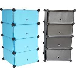 Snap Cubes - College Dorm Storage 4-Tier With Doors - Aqua