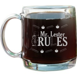 Personalized  Teacher Rules 13oz Glass Mug